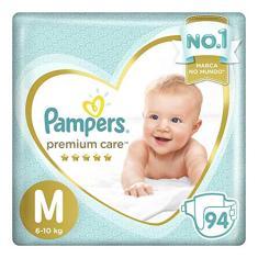 Fralda Pampers Premium Care Tamanho M 94 Unidades Peso Indicado 6 - 10kg