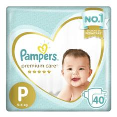 Fralda Pampers Premium Care Tamanho P Mega 40 Unidades Peso Indicado 5 - 8kg