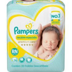 Fralda Pampers Premium care Tamanho Recém Nascido (RN) 20 Unidades Peso Indicado Até 4kg