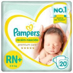 Fralda Pampers Premium Care Tamanho Recém Nascido (RN) 20 Unidades Peso Indicado Até 6kg