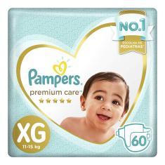 Fralda Pampers Premium Care Tamanho XG 60 Unidades Peso Indicado 11 - 15kg