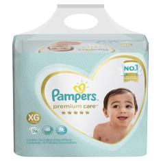 Fralda Pampers Premium Care Tamanho XG 76 Unidades Peso Indicado 11 - 15kg