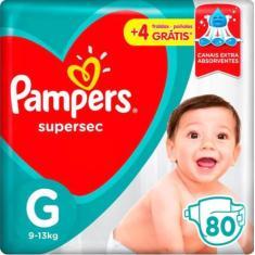 Fralda Pampers Supersec Tamanho G 80 Unidades Peso Indicado 9 - 13kg