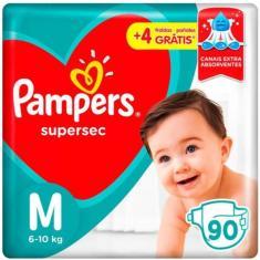 Fralda Pampers Supersec Tamanho M 90 Unidades Peso Indicado 6 - 10kg
