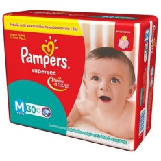 Fralda Pampers Supersec Tamanho M Econômica 30 Unidades Peso Indicado 6 - 9kg