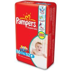Fralda Pampers Supersec Tamanho M Hiper 52 Unidades Peso Indicado 4 - 9kg