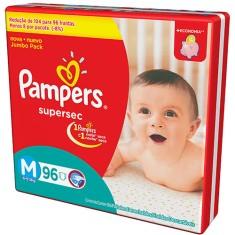 Fralda Pampers Supersec Tamanho M Jumbo 96 Unidades Peso Indicado 6 - 9kg