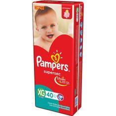 Fralda Pampers Supersec Tamanho XG Hiper 40 Unidades Peso Indicado 12 - 15kg