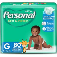 Fralda Personal Soft e Protect Tamanho G 80 Unidades Peso Indicado 8 - 12,5kg
