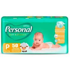 Fralda Personal Soft e Protect Tamanho P 50 Unidades Peso Indicado Até 6kg