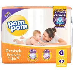 Fralda Pom Pom Proteck Proteção de Mãe Tamanho G 40 Unidades Peso Indicado 8 - 13kg