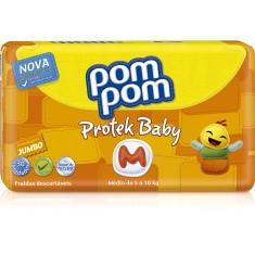 Fralda Pom Pom Protek Baby Tamanho M Jumbo 30 Unidades Peso Indicado 5 - 10kg