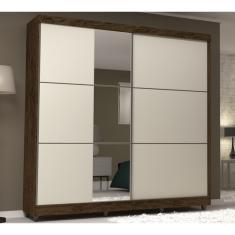 Guarda-Roupa Casal 2 Portas 6 Gavetas com Espelho Imperatriz VLR Móveis