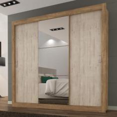 Guarda-Roupa Casal 3 Portas 3 Gavetas com Espelho Flex Color Smart Maxel Móveis