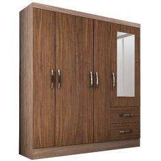 Guarda-Roupa Casal 5 Portas 2 Gavetas com Espelho Sevilha Colibri