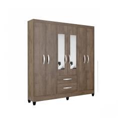 Guarda-Roupa Casal 6 Portas 2 Gavetas com Espelho Real Light Atualle Móveis