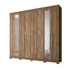 Guarda-Roupa Casal 8 Portas 4 Gavetas com Espelho Havana Master Vip Santos Andirá