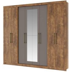 Guarda-Roupa Casal 8 Portas 4 Gavetas com Espelho Héster Móveis Carraro