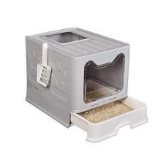 HEYJUDY Caixa de areia dobrável para gatos tipo penico para gatos tipo de entrada superior antirespingos para gatos, bandeja de areia para gatos com colher de areia para gatos, estrutura de arraste grande, fácil de limpar