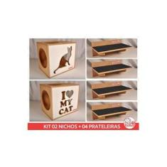 Kit 02 Nichos Gatos + 04 Prat Arranhador Mdf Cru - Frente Branca - I Love My Cat + Sit Cat - cj 6 pc