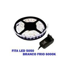 Kit 2 Fita Led 5050 Branco Frio 6000k Luz Branca Bivolt Com Fonte