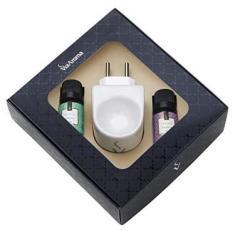 Kit Difusor Elétrico Via Aroma Porcelana Com 2 Essências