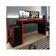 Mesa Gamer 1 Gaveta DRX 9000 Espresso Móveis Preto/Vermelho