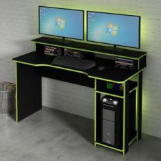 Mesa Gamer Com Porta Cpu Tecno Mobili Preto/Verde