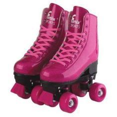 Patins Tradicional 4 rodas Fenix Roller Skate Glitter
