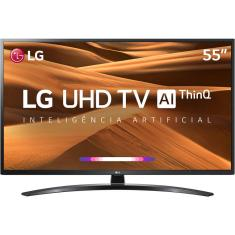 "Smart TV TV LED 55"" LG ThinQ AI 4K HDR 55UM7470PSA 3 HDMI"