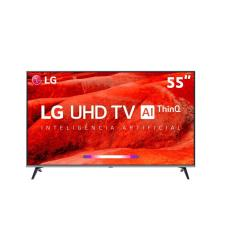 "Smart TV TV LED 55"" LG ThinQ AI 4K HDR 55UM7520PSB 4 HDMI"