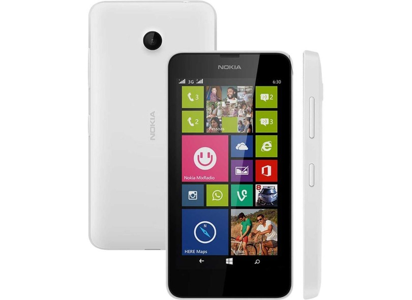 e45f56f6d91 Smartphone Nokia Lumia 630 8GB Qualcomm Snapdragon 400 2 Chips 5,0 MP 512 MB