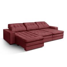Sofá 5 lugares Reclinável Retrátil Suede Absolute 320 cm Premium Estofados