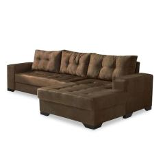 Sofá Chaise 5 lugares Suede Dijon Mobly