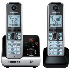 Telefone sem Fio Panasonic com 1 Ramal Secretaria Eletrônica KX-TG6722LBB