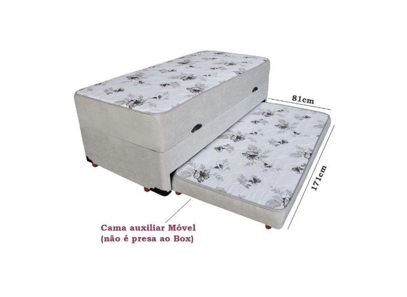 Cama Box Baú Solteiro com Cama Auxiliar com Colchão 88cm Bello Box