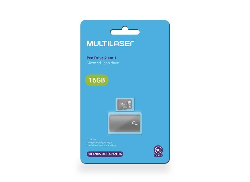 Cartão de Memória Micro SD com Adaptador Multilaser 16 GB MC162