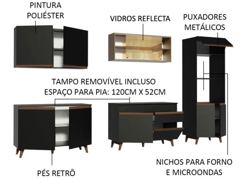 Cozinha Completa 1 Gaveta 11 Portas para Micro-ondas / Forno Reims 310001 Madesa