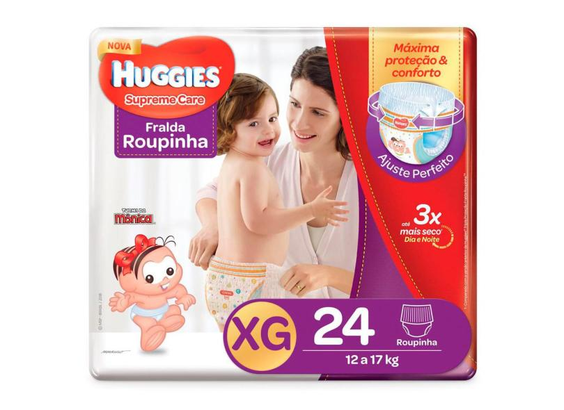 Fralda de Vestir Huggies Turma da Mônica Supreme Care Roupinha XG 24 Und 12 - 17kg