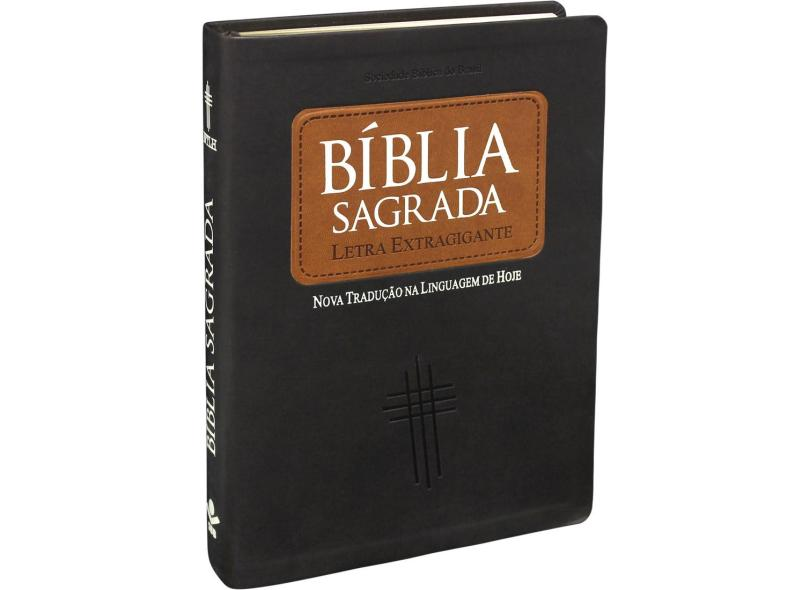 Bíblia Sagrada Índice - Marrom - Couro Luxo - Sociedade Bíblica Do Brasil - 7898521811570