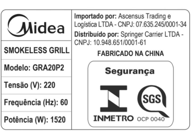 Churrasqueira Elétrica Midea Smokeless GRA20P