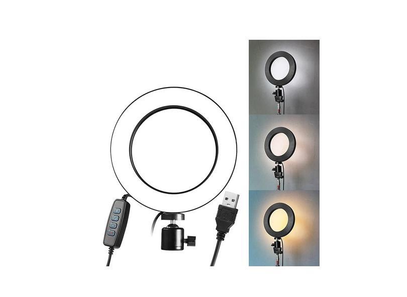 Ring light de luz LED para estúdio de fotografia, de intensidade ajustável, lâmpada com suporte