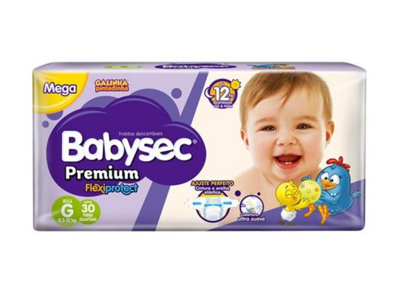 Fralda Babysec Galinha Pintadinha Premium Flexiprotect G Mega 30 Und 8,5 - 12kg