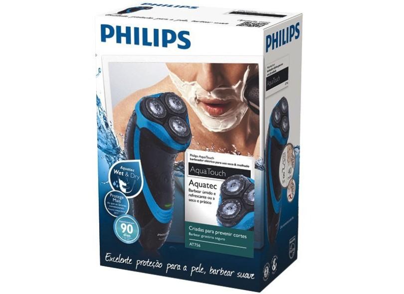 Barbeador Elétrico à Bateria recarregável Philips AquaTouch AT756/16