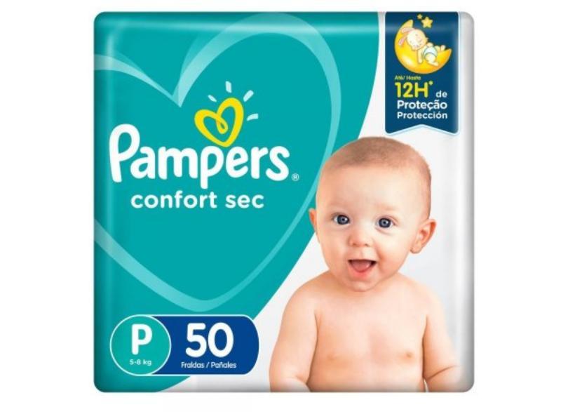 Fralda Pampers Confort Sec Tamanho P Mega 50 Unidades Peso Indicado 5 - 8kg