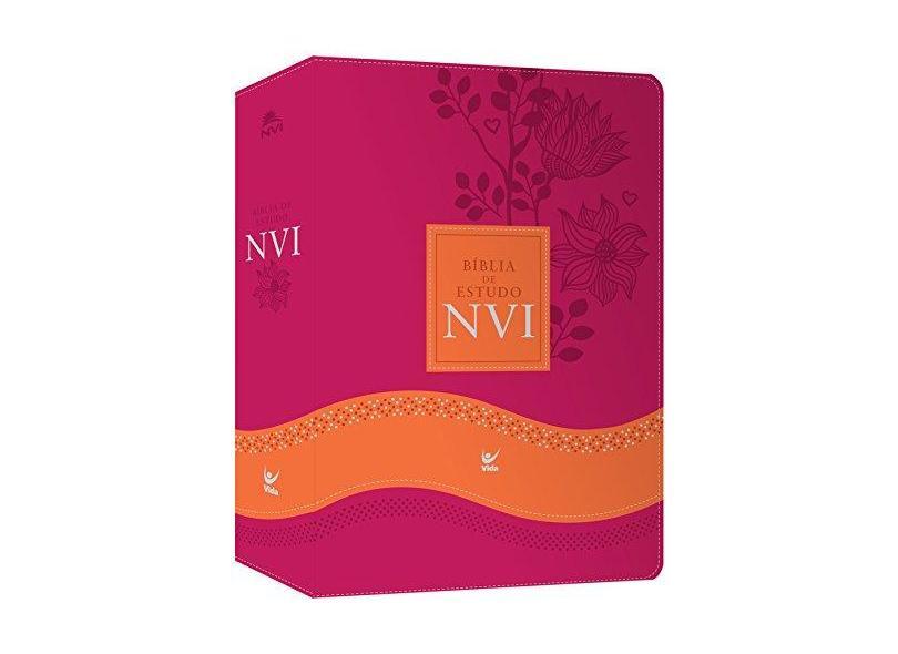Bíblia de Estudo NVI - Capa Rosa e Laranja - Encadernação De Couro - 9788000003351