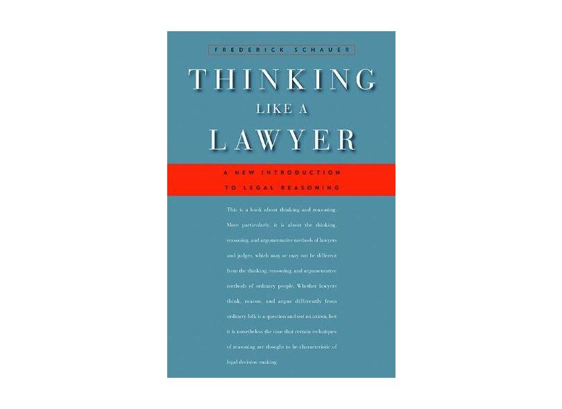 """Thinking Like A Lawyer - """"schauer, Frederick"""" - 9780674062481"""
