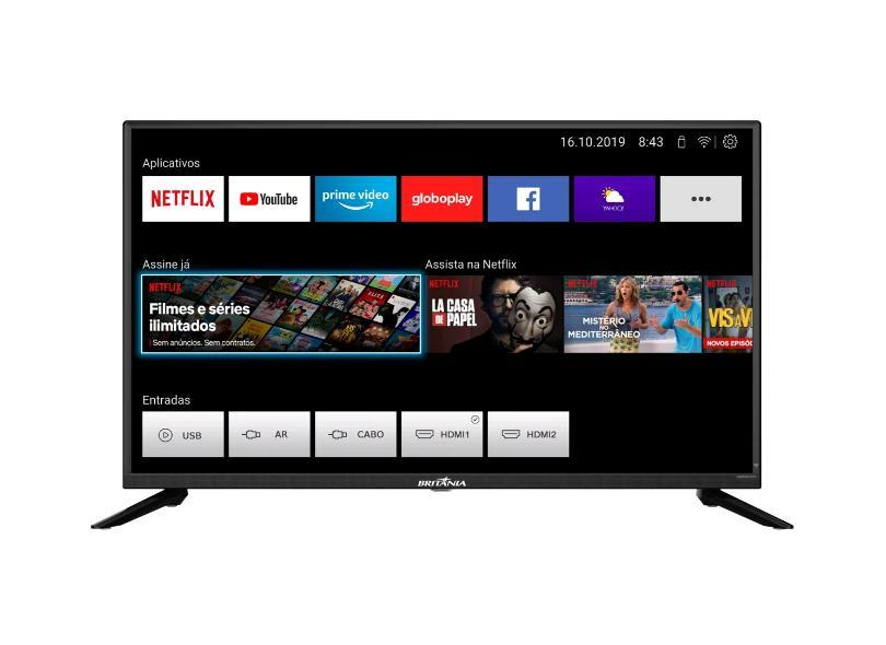 "Smart TV TV LED 39 "" Britânia BTV39G60N5CH 2 HDMI"