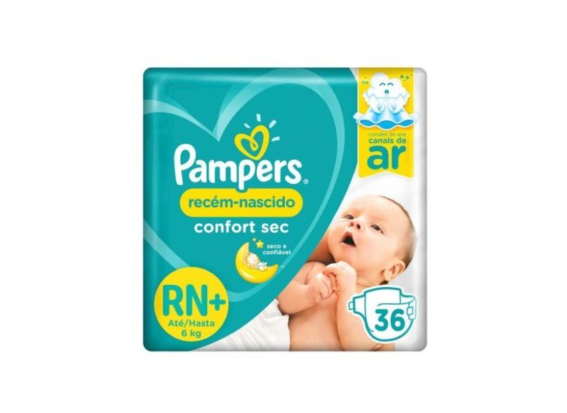 Fralda Pampers Confort Sec RN Plus Tamanho Recém Nascido (RN) 36 Unidades Peso Indicado Até 6kg