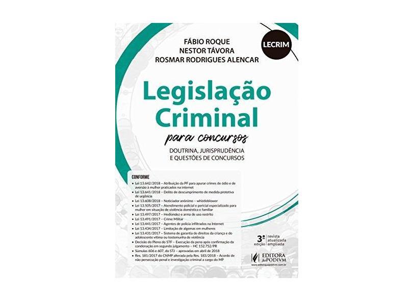 Legislação Criminal Para Concursos - LECRIM: Doutrina, Jurisprudência e Questões de Concursos - Fábio Roque - 9788544220979